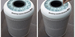 smoking trashcans