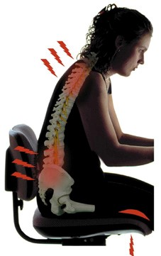 women sitting with back pain